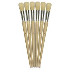 ChenilleKraft No. 12 Round Bristle Brush Set - 6 Brush(es) - No. 12 Wood Natural Handle - Aluminum Ferrule