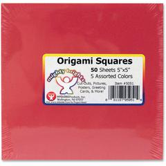 """Hygloss Mighty Brights Origami Squares - 50 Piece(s) - 5"""" x 5"""" - 1 Pack - Assorted"""
