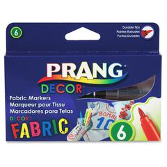 Prang Decor Fabric Markers - Brush Point Style - Assorted - 6 / Set