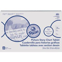 """Pacon Ruled Picture Story Chart Tablet - 25 Sheets - Spiral Bound - Both Side Ruling Surface - Ruled - 1.50"""" Ruled - 7"""" Picture Story Space - 24"""" x 16"""" - White Paper - Recycled - 25 / Each"""