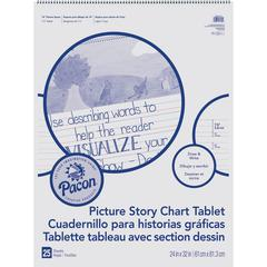 "Pacon Ruled Picture Story Chart Tablet - 25 Sheets - Spiral Bound - Both Side Ruling Surface - Ruled - 1.50"" Ruled - 13.63"" Picture Story Space - 24"" x 32"" - White Paper - 25Sheet"