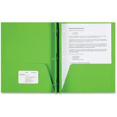 "Sparco Two-pocket 3-Prong Leatherette Portfolio - Letter - 8 1/2"" x 11"" Sheet Size - 3 x Double Prong Fastener(s) - 2 Internal Pocket(s) - Leatherette Paper - Apple Green - 25 / Box"