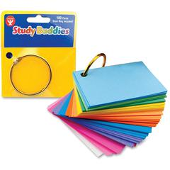 "Hygloss Bright Study Buddies Flash Cards - 100 Sheets - Ring - 2"" x 3"" - Assorted Paper - 100 / Pack"