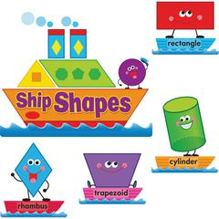 Trend Ship Shapes/Colors Bulletin Board Set - Learning Theme/Subject - 16, 24, 4 (Geometric, Word, Label) Shape - Multicolor - 45 / Set