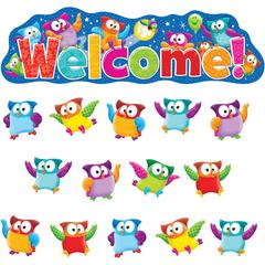 "Trend Owl-Stars! Welcom Bulletin Board Set - 1, 36 (Welcome, Owl) Shape x 55.25"" Width - Multicolor - 38 / Set"