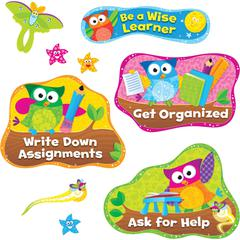 Trend Owl Study Habits Bulletin Board Set - Learning Theme/Subject - 5, 1, 1 (Dancing Star, Firefly, Moth) Shape - Ask for Help, Be a Wise Learner, Check Your Work, Get Organized, Listen to Instructio