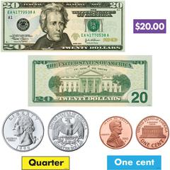 Trend US Money Bulletin Board Set - Learning Theme/Subject - 6, 4, 31 (Coin, Bill, Label) Shape - Multicolor - 52 / Set
