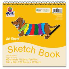 """Pacon Beginner's Sketch Book - 40 Sheets - Spiral - 9"""" x 9"""" - White Paper - 40 / Pad"""