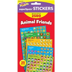 Trend Animal Friends SuperShapes Stickers - Animal, Fun Theme/Subject (Frog, Monkey, Bugs, Fish, Bee) Shape - Self-adhesive - Acid-free, Fade Resistant, Non-toxic - Multicolor - 2500 / Pack