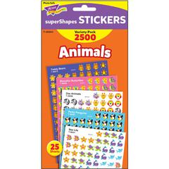 Trend Animals SuperShapes Stickers Variety Pack - Animal, Fun Theme/Subject (Sea Life, Butterfly, Penguin, Teddy Bear, Zoo Animal) Shape - Self-adhesive - Acid-free, Fade Resistant, Non-toxic - Multic