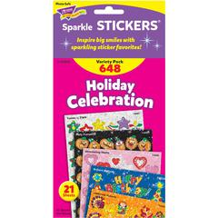 Trend Holiday Celebration Little Sparkler Stickers - Fun Theme/Subject (Sparkle Stars, Pumpkin, Smilies, Heart) Shape - Self-adhesive - Acid-free, Fade Resistant, Non-toxic, Photo-safe - Multicolor -
