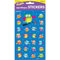 Trend Colored Owl Super Shapes Stickers - (Owl) Shape - Self-adhesive - Acid-free, Fade Resistant, Non-toxic, Photo-safe - Multicolor - 200 / Pack