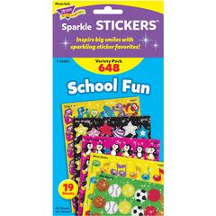 Trend School Fun little sparkler Stickers - Fun Theme/Subject (Apple, Star, Smilies, Penguin, Frog Fun) Shape - Self-adhesive - Merry Music, Star Sports, Brilliant Birthday - Acid-free, Fade Resistant