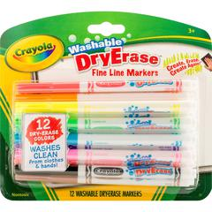 Fine Line Washable Dry Erase Markers - Fine Point Type - Bullet Point Style - Assorted - 12 / Pack