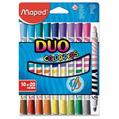 Maped Helix Duo Color'Peps 2-color Tip Markers - Conical Point Style - Assorted - 10 / Pack