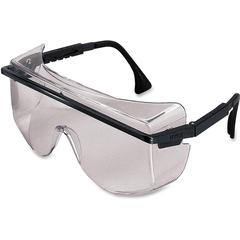 Uvex Safety Astro OTG 3001 Safety Glasses - Eye, Particulate, Impact, Biohazard, Visibility Protection - Polycarbonate Lens, Nylon Temple, Nylon Frame - Black, Clear - 1 Each