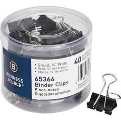 Business Source Small Binder Clips - Small - for Paper, Project, Document - 1Pack - Black - Steel, Zinc