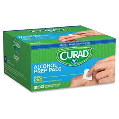 "Curad Sterile Alcohol Swabs - 1"" Height x 1"" Width - 200 / Box"