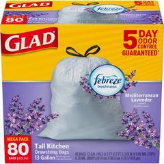 "OdorShield 13-gal Drawstring Bags - 13 gal - 24"" Width x 27.38"" Length - White - 320/Carton - 80 Per Box - Kitchen, Home Office"