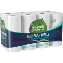 Seventh Generation Jumbo Rolls Recycled Paper Towels - 2 Ply - 156 Sheets/Roll - White - Paper - Absorbent, Chlorine-free, Chemical-free, Dye-free, Fragrance-free - 8 / Pack