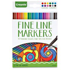 Crayola Classic Colors Fine Line Markers Set - Assorted - 12 / Set