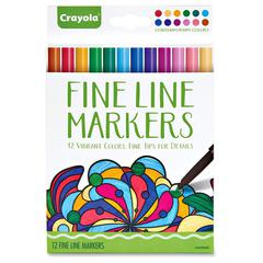 Crayola Contemporary Colors Fine Line Markers Set - Assorted - 12 / Set