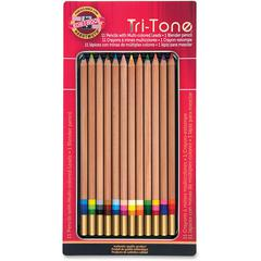 Koh-I-Noor Tri-Tone Multi-colored Pencils - Assorted Lead - 12 / Set