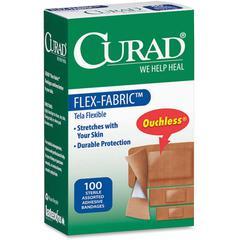 Curad Flex-Fabric Bandages - 100/Box - Tan - Fabric