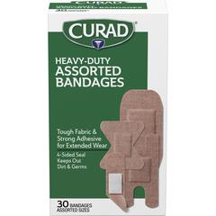 Curad Extreme Hold Assorted Bandages - 30/Box - Tan - Fabric