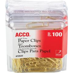 Acco Gold Tone Paper Clips - Regular - No. 2 - 10 Sheet Capacity - for Office, Home, School, Document, Paper - Sturdy, Flex Resistant, Bend Resistant - 400 / Pack - Gold