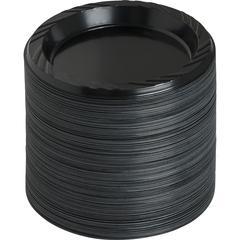 "Genuine Joe Round Plastic Black Plates - 125 / Pack - 6"" Diameter Plate - Plastic - Serving - Disposable - Black - 1000 Piece(s) / Carton"
