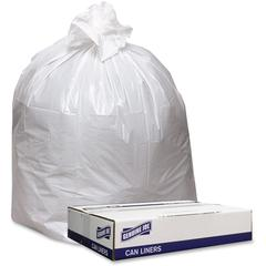 """Genuine Joe Extra Hvy-duty White Trash Can Liners - 33"""" Width x 39"""" Length x 9 mil (229 Micron) Thickness - Low Density - White - 100/Carton - Industrial Trash"""