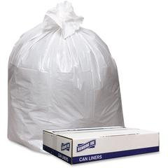 """Genuine Joe Extra Hvy-duty White Trash Can Liners - 40"""" Width x 46"""" Length x 9 mil (229 Micron) Thickness - Low Density - White - 100/Carton - Industrial Trash"""