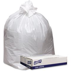"""Genuine Joe Extra Hvy-duty White Trash Can Liners - 43"""" Width x 47"""" Length x 9 mil (229 Micron) Thickness - Low Density - White - 100/Carton - Industrial Trash"""