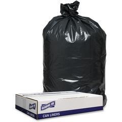 "Genuine Joe 1.2mil Black Trash Can Liners - 38"" Width x 58"" Length - 1.20 mil (30 Micron) Thickness - Low Density - 100/Carton - Black"