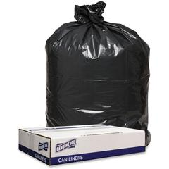 "Genuine Joe 1.2mil Black Trash Can Liners - 43"" Width x 47"" Length x 1.20 mil (30 Micron) Thickness - Low Density - Black - 100/Carton - Can"