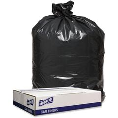 """Genuine Joe 1.6 mil Trash Can Liners - 43"""" Width x 47"""" Length x 1.60 mil (41 Micron) Thickness - Low Density - Black - 100/Carton - Can"""