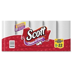 Scott Choose-A-Sheet Paper Towels - 1 Ply - White - Perforated, Absorbent - 15 - 15 / Pack