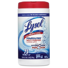 Lysol Power/Free Cleaning Wipes - Wipe - 75 / Canister - 6 / Carton - White