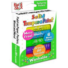 The Pencil Grip Pencil Grip Kwik Stix Tempera Paint Neon Sticks - 6 / Each - Neon Green, Neon Yellow, Neon Orange, Neon Pink, Neon Purple, Neon Blue