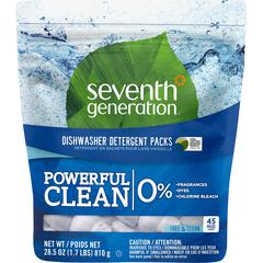 Seventh Generation Natural Dishwasher Detergent 45-Pack - Free & Clear Scent - 45 / Packet - 360 / Carton