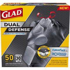 "Glad ForceFlex 30gal Extra Strong Trash Bags - 30 gal - 30"" Width x 33"" Length x 1.05 mil (27 Micron) Thickness - Black - Plastic - 200/Carton - 50 Per Box"