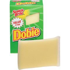 "Scotch-Brite -Brite Dobie All-purpose Cleaning Pads - 0.5"" Height x 2.6"" Width x 4.3"" Depth - 24/Carton - Polyurethane - Yellow"