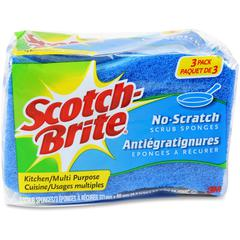 "Scotch-Brite -Brite No Scratch Scrub Sponges - 2.8"" Height4.5"" Depth - 24/Carton - Blue"