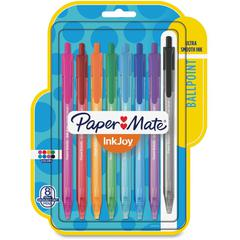 Paper Mate InkJoy 100 RT Pens - Medium Pen Point - 1 mm Pen Point Size - Assorted - Translucent Barrel - 8 / Pack
