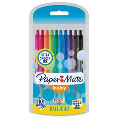 Paper Mate InkJoy Retractable Mini Pens - 1 mm Pen Point Size - Assorted - Transparent Barrel - 10 / Pack
