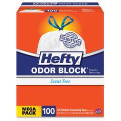 "Hefty Odor Block 13 gal Bags Mega Pack - 13 gal - 24"" Width x 27.38"" Length x 1.10 mil (28 Micron) Thickness - White - 300/Carton - 100 Per Box - Garbage, Kitchen"