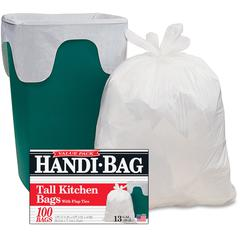 """Webster Handi-Bag Flap Tie Tall Kitchen Bags - 10 gal - 23.50"""" Width x 29"""" Length x 0.60 mil (15 Micron) Thickness - White - Hexene Resin - 600/Carton - 100 Per Box - Home, Office, Kitchen"""