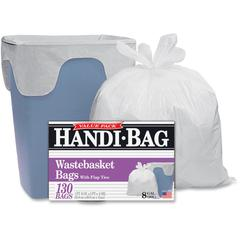 "Handi-Bag Wastebasket Bags - 8 gal - 21.50"" Width x 24"" Length x 0.60 mil (15 Micron) Thickness - White - Hexene Resin - 780/Carton - 130 Per Box - Home, Office"