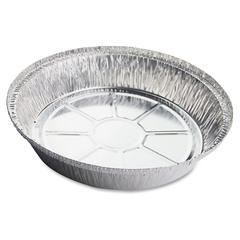 "Genuine Joe Round Aluminum Food Container Set - 9"" Diameter Food Container, Lid - Aluminum - Cooking, Serving - Silver - 250 Piece(s) / Carton"